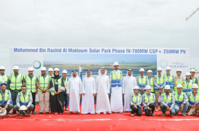 Concrete base of CSP tower for 4th phase of Dubai Solar Park now complete