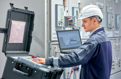 Robust plug-in test system facilitates testing of protective devices