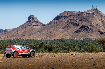 The Acciona 100% Eco-powered becomes first electric rally car to compete in the emirates desert championship rally