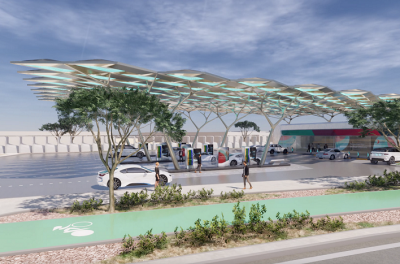 Construction of ENOC's solar powered Service Station of the Future reaches 40%