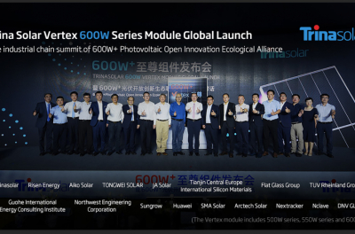 Trina Solar unveils Vertex 600W series module and expects mass production of 550W series later in the year