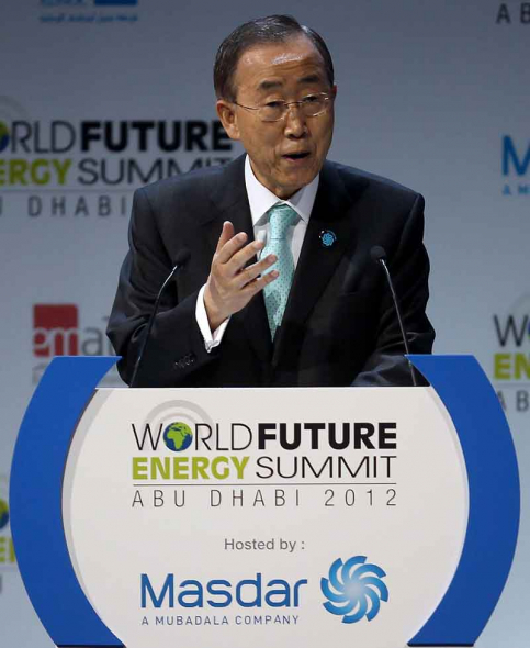 United Nations Secertary General Ban Ki-moon addresses the opening session of the World Future Summit in Abu Dhabi. (Getty Images)