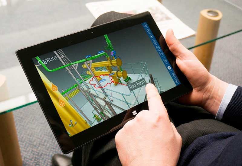 Review plant designs from a tablet with Aveva E3D Insight.