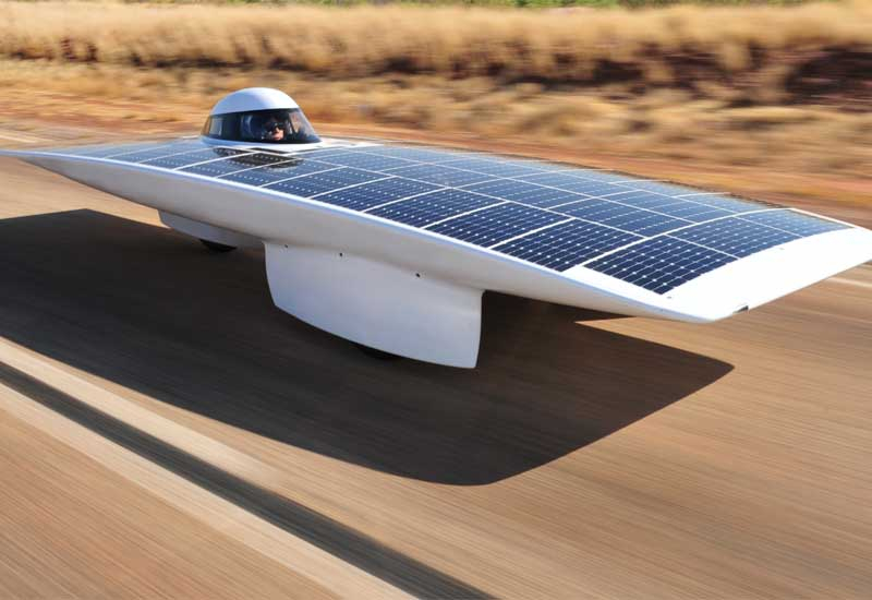 A solar-powered car in action.