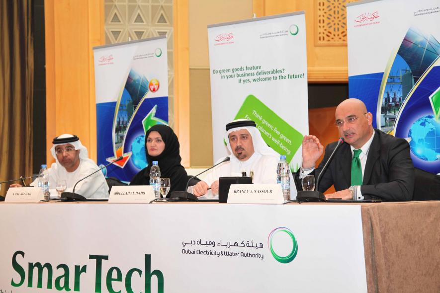 Dewa's Amal Koshak, centre left, and Abdulla Al Hajiri, centre right, at the press conference announcing the SmarTech platform.