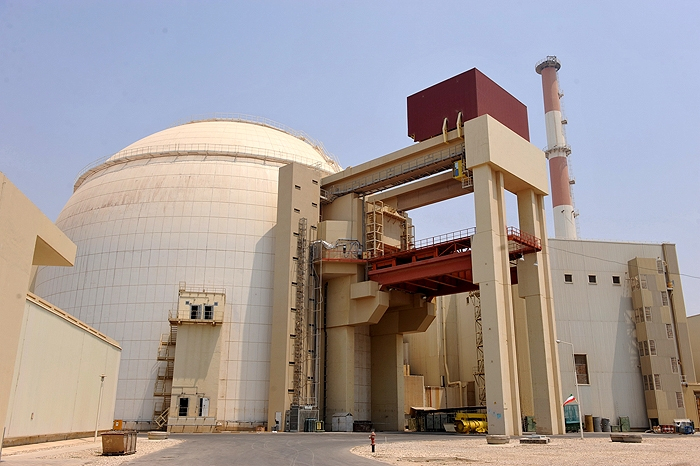The outside of the nuclear reactor at Bushehr, Iran.