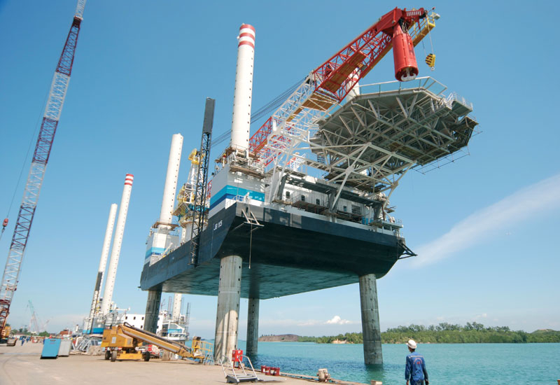 Jack-up barges, which will be used for wind farm installations, are ready for delivery.