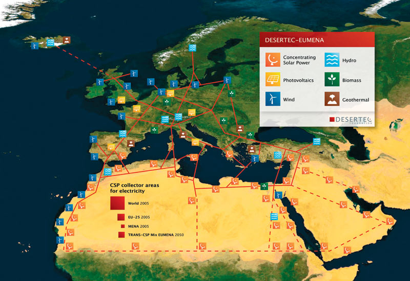 The DESERTEC Concept envisages a large-scale, interconnected grid of renewable energy.