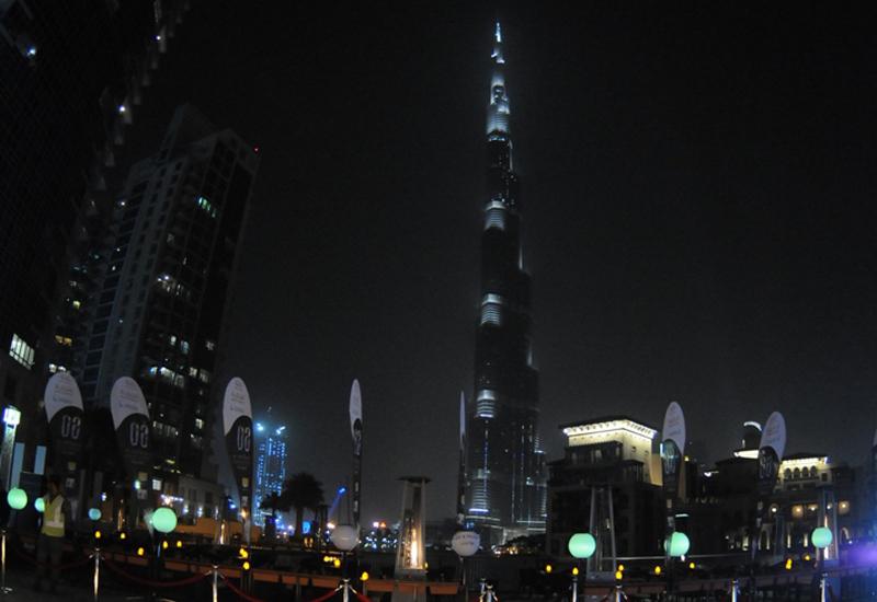 The Burj Khalifa stands dark as Dubai participates in Earth Hour.