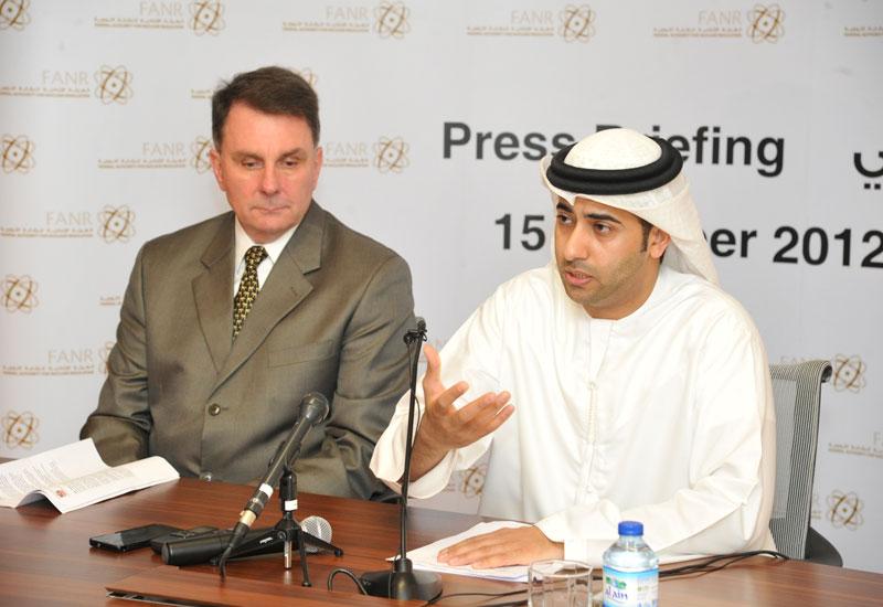 H.E. Hamad Al Kaabi explains the new Nuclear Liability Law at FANR HQ.
