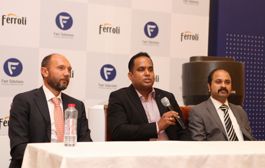 (L-R) - Mr. Marco Ippoliti, Head of Exports, Ferroli Group, Mr. Unnikrishnan Chandramohanan, Director, Fast Solutions and Mr. Steve Thomas, Project Manager, Fast Solutions.