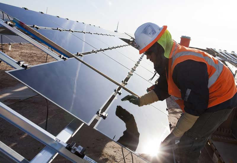 Panel installation at Mohammed bin Rashid Solar Park.