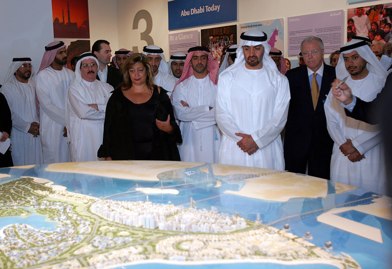 Crown Prince of Abu Dhabi Sheikh Mohammed bin Zayed al-Nahayan (C) looks at the project model for Saadiyat Island. (Getty Images)