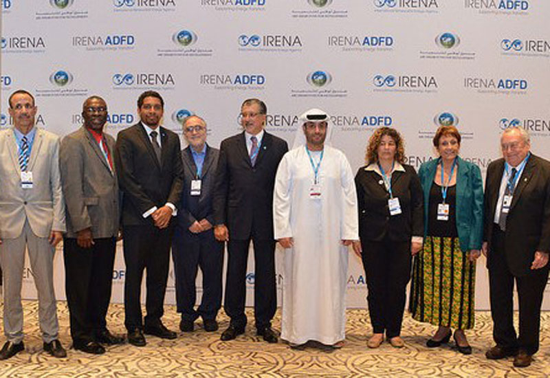 Representatives from IRENA, ADFD, the UAE Ministry of Foreign Affairs and the five countries awarded funding.