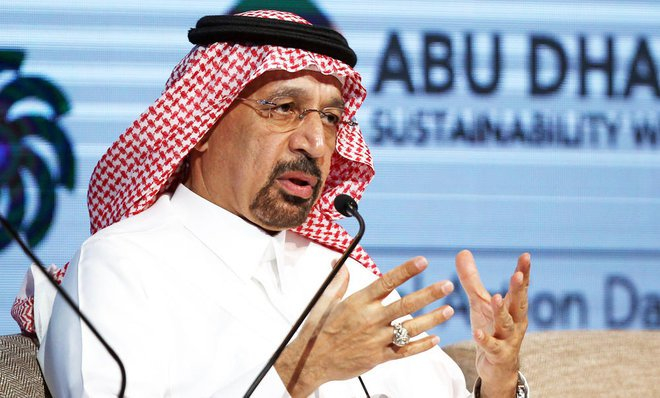 Khalid Al Falih, Saudi Arabia's minister for energy, industrial and mineral resources speaking on Monday at the World Future Energy Summit (WFES) 2017 in Abu Dhabi