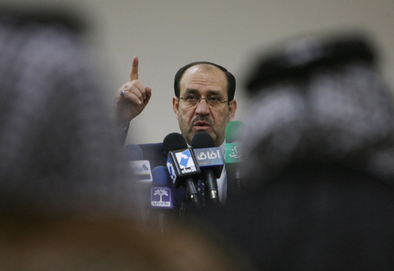 Iraqi PM Nuri Al Maliki tells tribal leaders that electricity production is threatened. Courtesy of AFP/Getty.