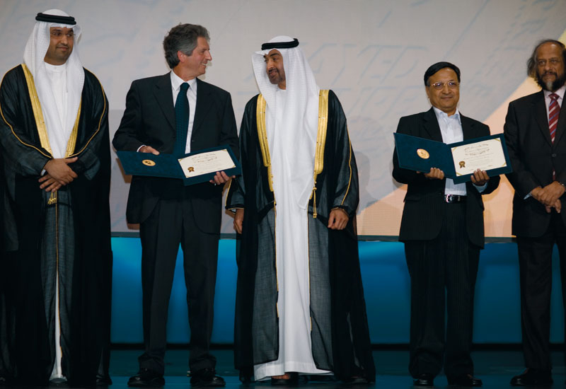 Dr Sultan Al Jaber, CEO of Masdar (left) at the Zayed Future Energy Prize awards in January.