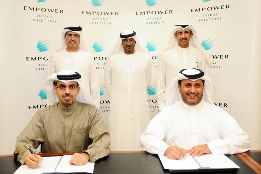Ahmad Bin Shafar, CEO, Empower (R) and Hamad Buamim, board member of Dubai World