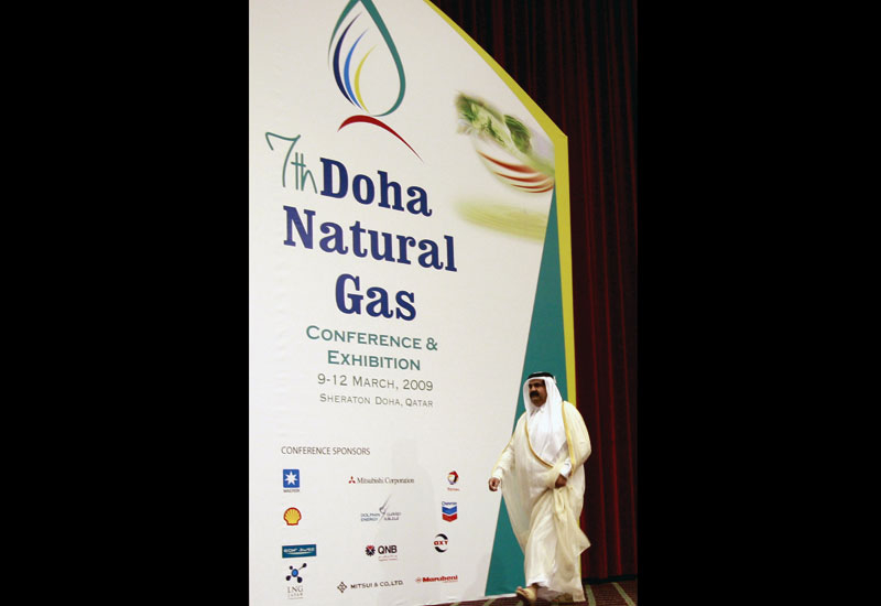 Qatari Emir Sheikh Hamad bin Khalifa al-Thani arrives to speak at a natural gas conference.
