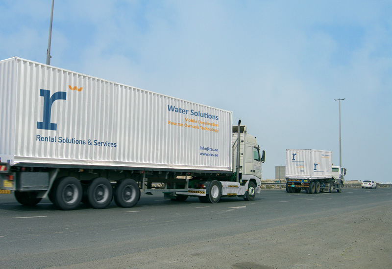 A set of RSS containerised reverse osmosis desalination plants is heading to its destination.