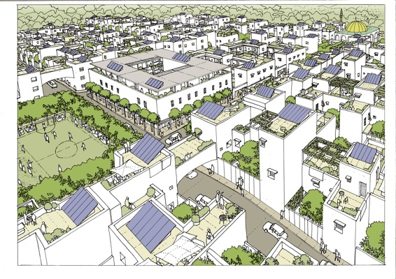 A drawing of the proposed zero-carbon city in Libya.