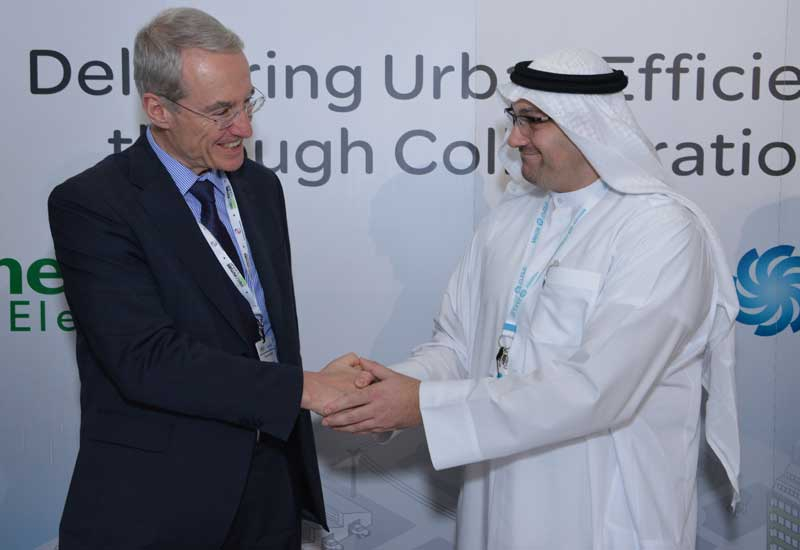 Mohammed Al Ramahi, COO of Masdar with Michel Crochon, executive VP, Schneider Electric
