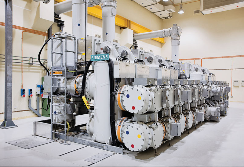 A Siemens 220-kV substation, of the type to be supplied to Afghanistan, installed in Doha, Qatar.