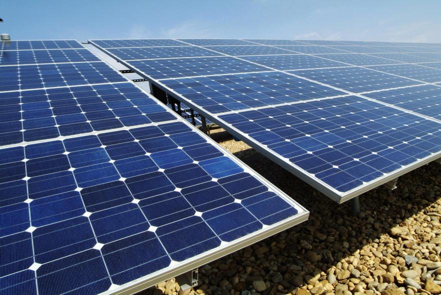 Solar panels in operation.