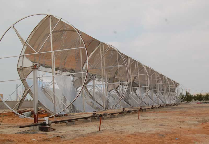 The prototype of Mulk's solar trough on the Sharjah factory ground