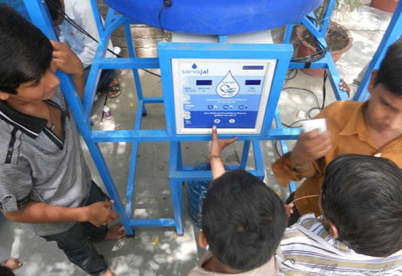 Customers simply swipe a prepaid smart card at the ATM to collect their water