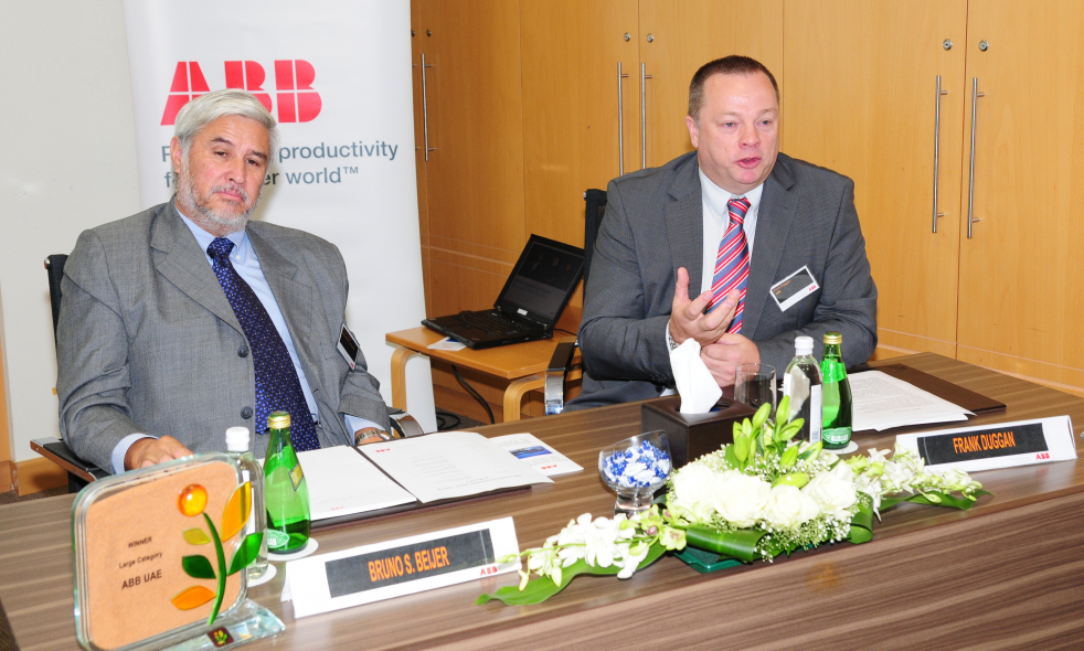 Bruno Beijer, Swedish Ambassador to the UAE and Frank Duggan, ABB's Region Manager for India, Middle East and Africa at the launch event held in ABB's