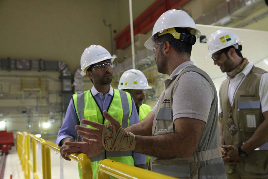 Suhail Al Mazroui, UAE energy minister on a site tour of the Barakah nuclear facilities