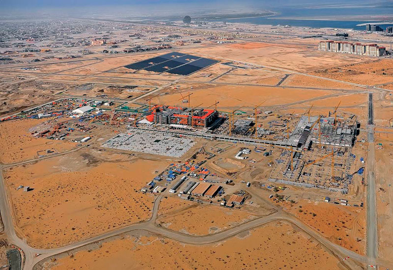 Masdar City, currently not much more than a construction site in the sand.
