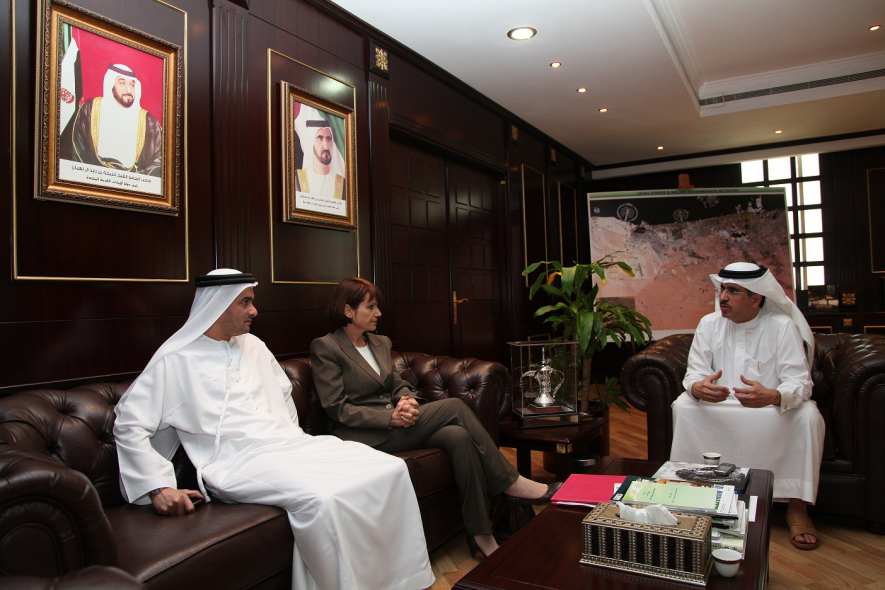 Dr Alissar Sarrouh fron the UN meets with H.E. Saeed Mohamed Al Tayer, Vice Chairman of the Dubai Supreme Council of Energy. (Getty Images)