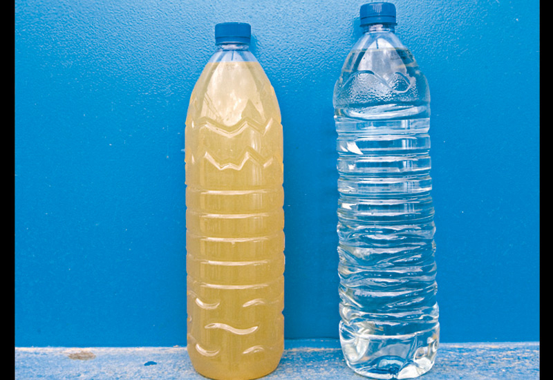 Water before (left) and after the treatment.
