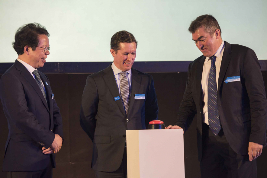 Patrick Decker, Xylem president and CEO (center), Vincent Chirouze, Xylem region director (right) and Steven Leung, senior vp and president emerging markets (left) while inaugurating the facility