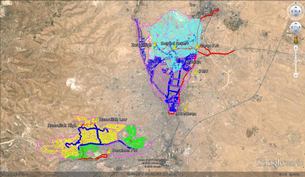 Zarqa and Ruseifa water network models shown in Google Earth