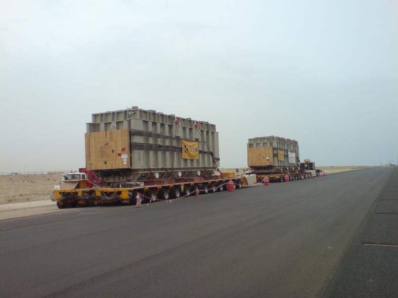 ABB transformers making their way to their destination in Kuwait.