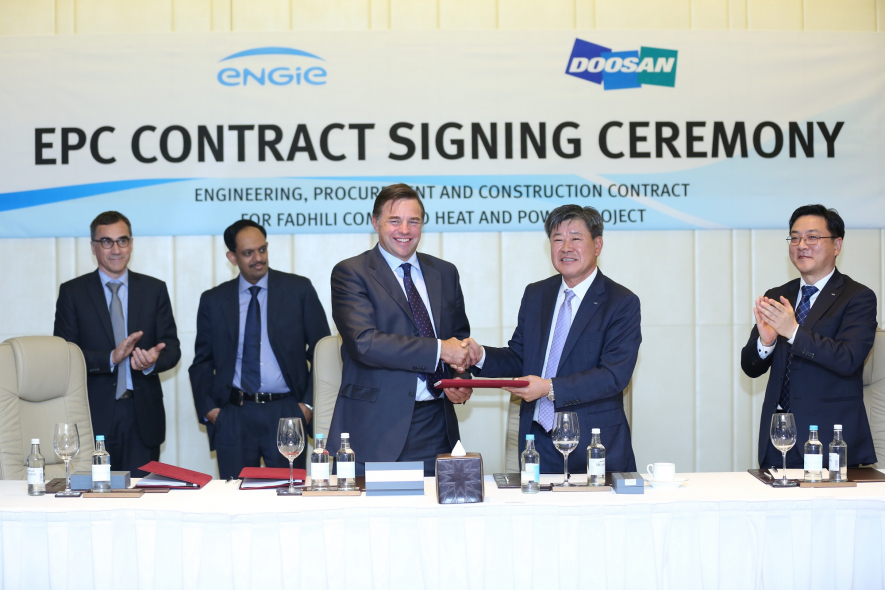 Doosan's EPC BG CEO Huntak Kim (fourth from the left) and Engie's Chief Technical Officer David Leich (third from the left) officially signed agreement for the construction of Saudi Arabia's Fadhilli Power Plant at Waldorf Astoria Dubai.
