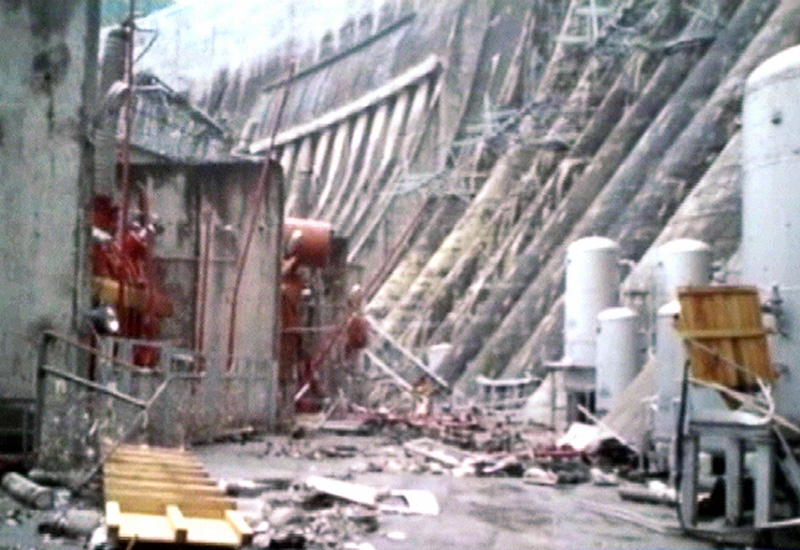 A screen grab from Russia's NTV channel gives an impression of the damage at the plant. Courtesy of AFP/Getty.