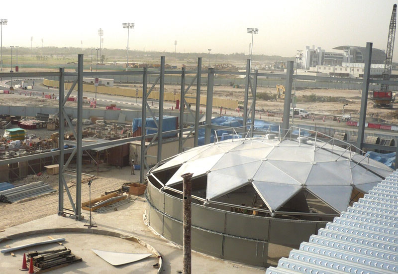 The Nad Al Sheba district cooling plant at the Meydan complex under construction.
