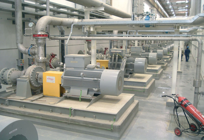Pumps with Emerson Leroy-Sumer motors in the Sulaibiya water treatment plant in Kuwait.