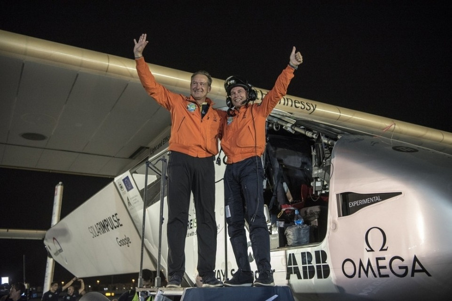 Solar impulse 2 pilots Bertrand Piccard and André Borschberg after landing at the Al Bateen Executive Airport in Abu Dhabi