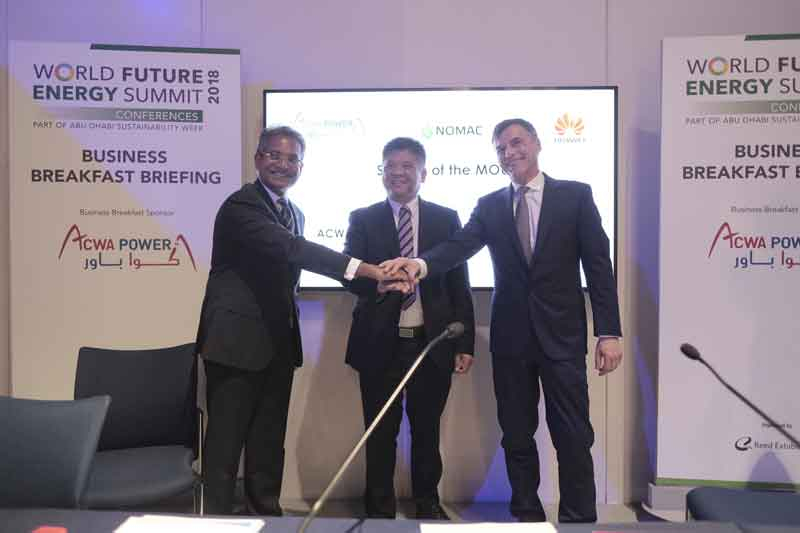 Senior officials of ACWA Power and Huawei after announcing the centralised control and monitoring pilot project