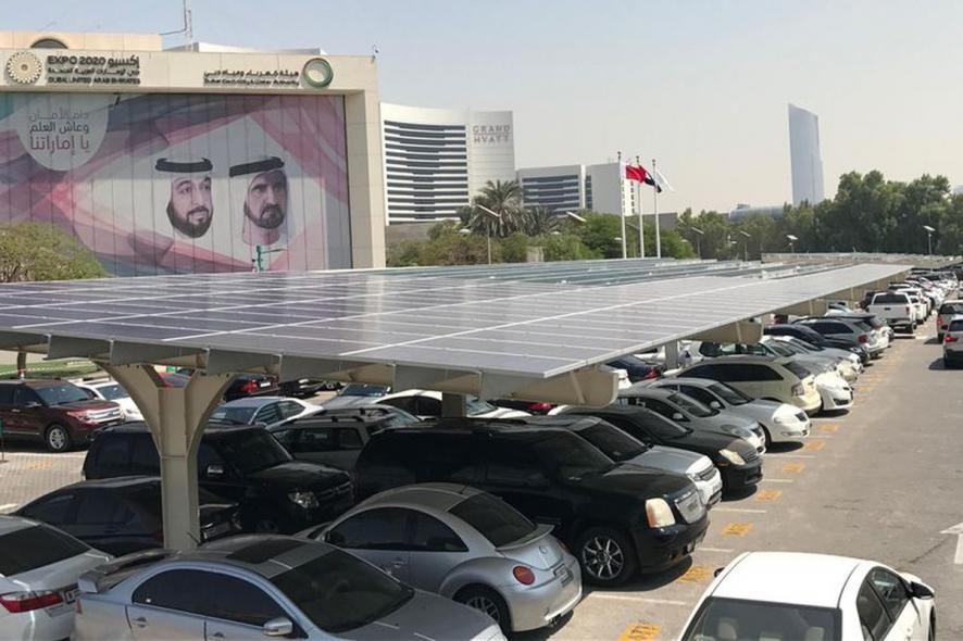 solar carport at DEWA offices in Dubai