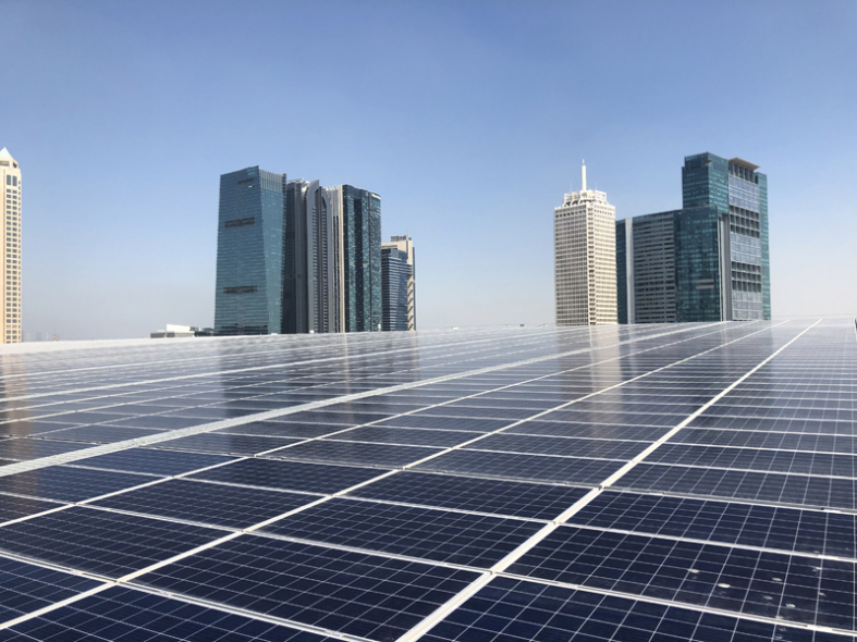 The 1 megawatt system, located above DWTC's Sheikh Rashid Hall, includes more than 3,000 solar photovoltaic (PV) panels covering 6,600 square meters of rooftop space