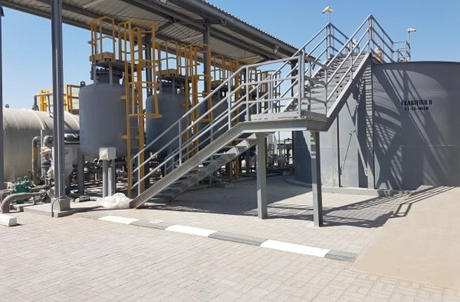 The facility treats wastewater using appropriate process lines in dedicated plants based on their chemical composition and origin.