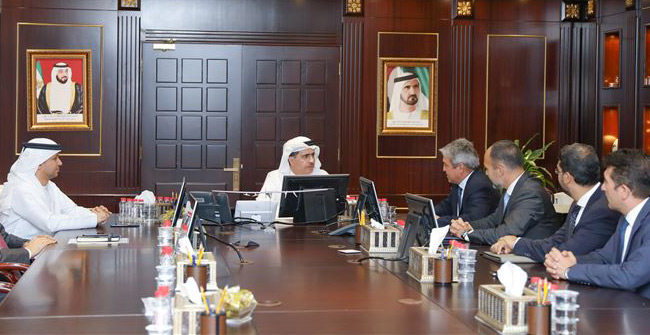 The SAP delegation briefed DEWA's Saeed Mohammed Al Tayer on the latest services and solutions offered in the field of digital transformation and cloud computing