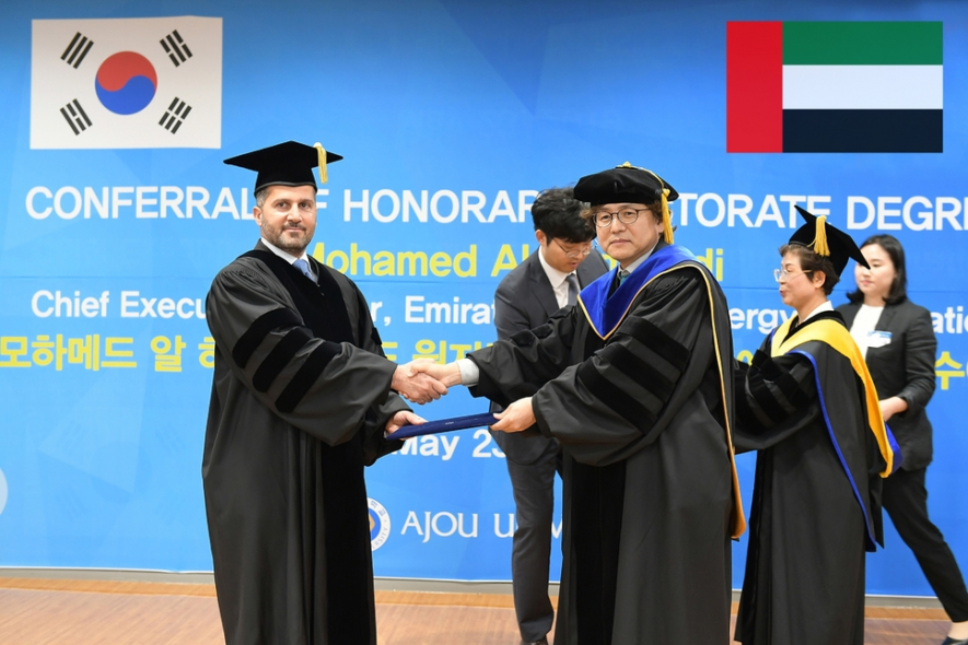 Eng Mohammed Al Hammadi, chief executive officer of Emirates Nuclear Energy Corporation (Enec) receives a doctorate from Ajou University