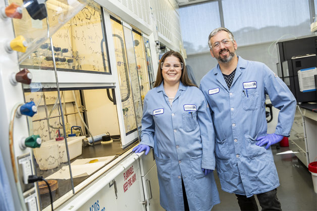 Brett Helms staff scientist right and Miranda Baran graduate student researcher of Berkeley Labs Molecular Foundry have developed AquaPIM a battery technology that could help to accelerate an electrical grid powered by renewable energyLawrence Berkeley National Laboratory